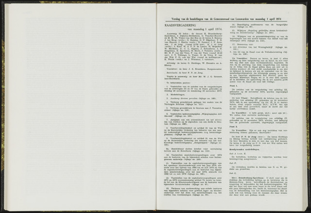 Raadsverslagen van de gemeente Leeuwarden, 1865-2007 (Notulen) 1974-04-01