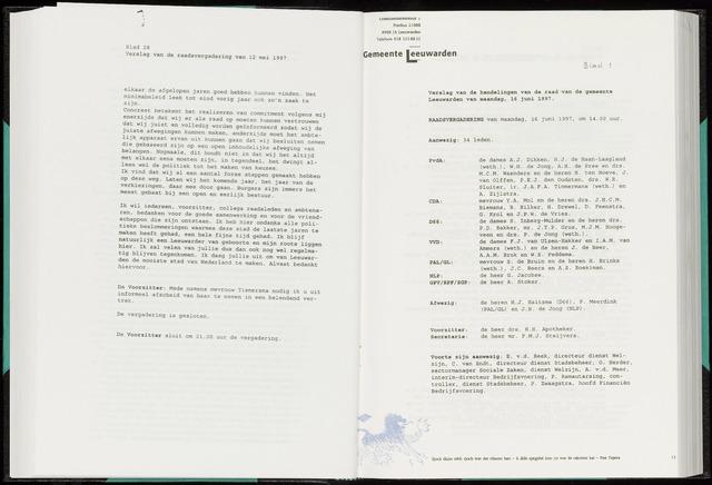 Raadsverslagen van de gemeente Leeuwarden, 1865-2007 (Notulen) 1997-06-16