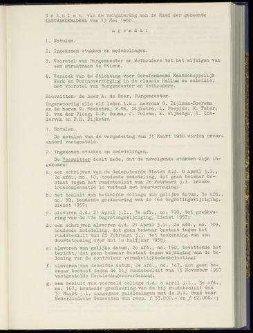 Notulen van de gemeenteraad van Leeuwarderadeel 1958-05-13