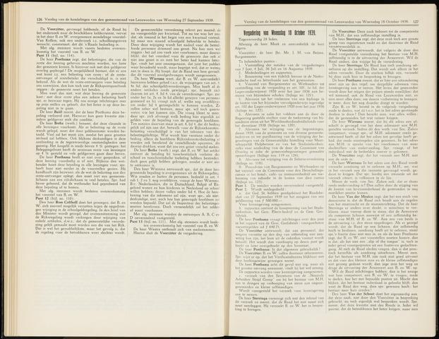 Raadsverslagen van de gemeente Leeuwarden, 1865-2007 (Notulen) 1939-10-18