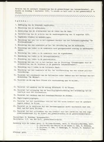 Notulen van de gemeenteraad van Leeuwarderadeel 1970-09-01