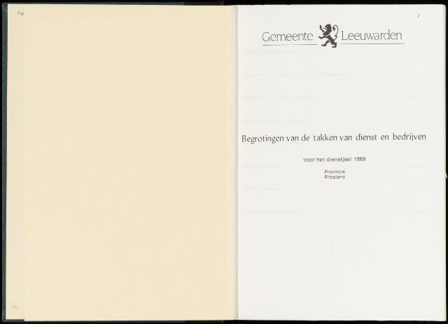 Raadsverslagen van de gemeente Leeuwarden, 1865-2007 (Bijlagen) 1989-01-01
