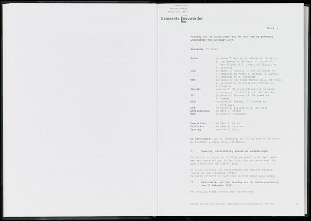 Raadsverslagen van de gemeente Leeuwarden, 1865-2007 (Notulen) 2006-03-13