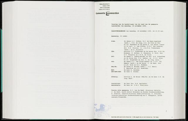 Raadsverslagen van de gemeente Leeuwarden, 1865-2007 (Notulen) 1996-11-18