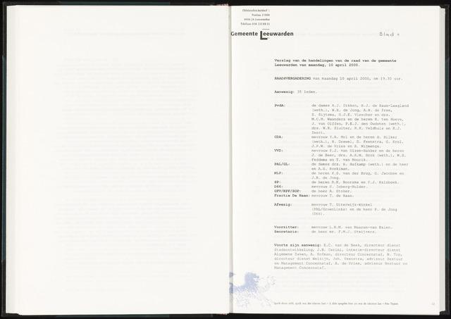 Raadsverslagen van de gemeente Leeuwarden, 1865-2007 (Notulen) 2000-04-10