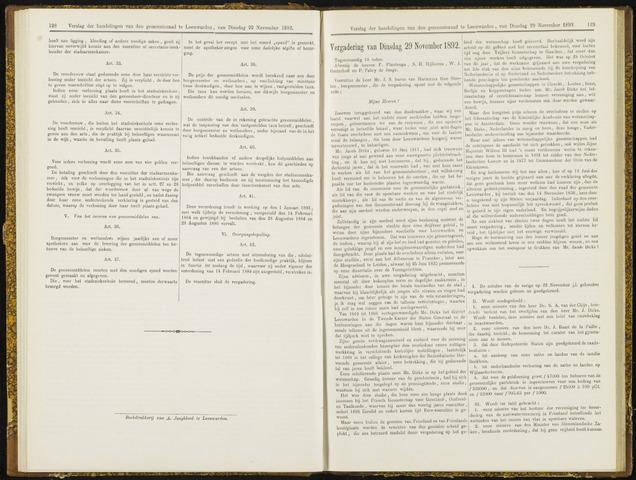 Raadsverslagen van de gemeente Leeuwarden, 1865-2007 (Notulen) 1892-11-29