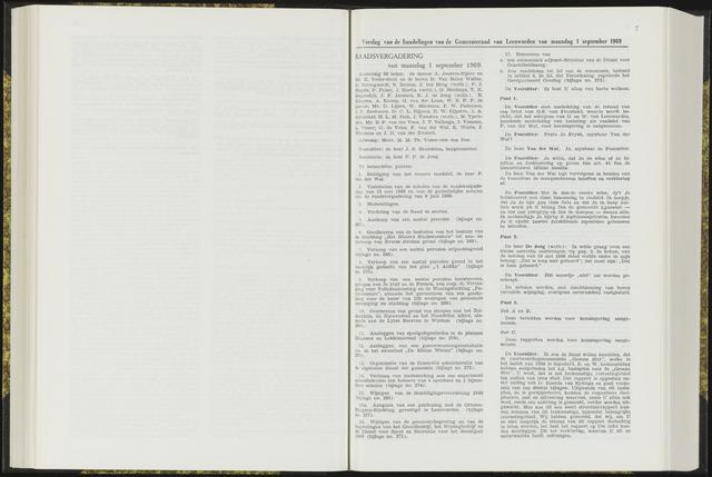 Raadsverslagen van de gemeente Leeuwarden, 1865-2007 (Notulen) 1969-09-01