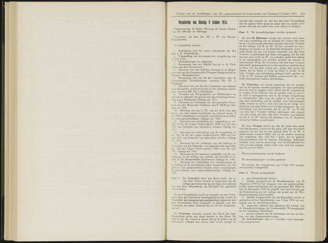 Raadsverslagen van de gemeente Leeuwarden, 1865-2007 (Notulen) 1934-10-09