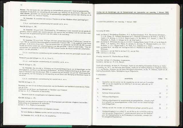 Raadsverslagen van de gemeente Leeuwarden, 1865-2007 (Notulen) 1982-02-01