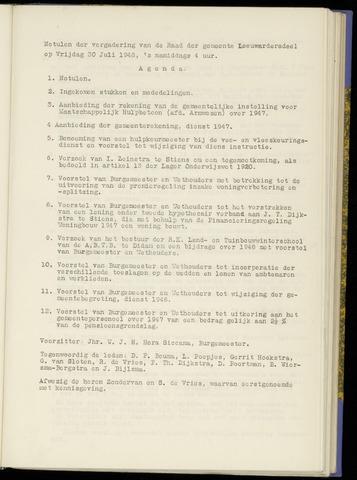 Notulen van de gemeenteraad van Leeuwarderadeel 1948-07-30