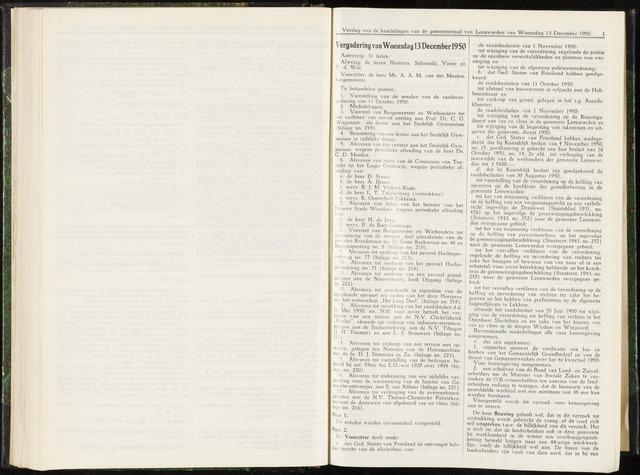 Raadsverslagen van de gemeente Leeuwarden, 1865-2007 (Notulen) 1950-12-13