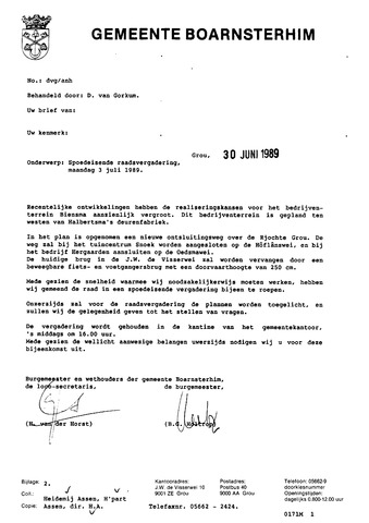 Boarnsterhim vergaderstukken gemeenteraad  1989-07-03