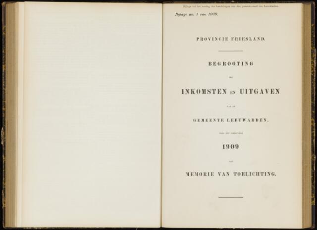 Raadsverslagen van de gemeente Leeuwarden, 1865-2007 (Bijlagen) 1909-01-01