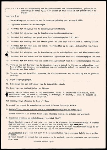 Notulen van de gemeenteraad van Leeuwarderadeel 1972-04-27