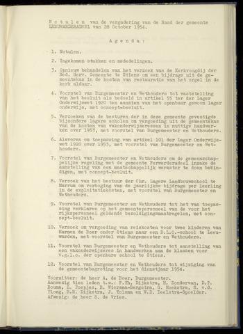 Notulen van de gemeenteraad van Leeuwarderadeel 1954-10-28