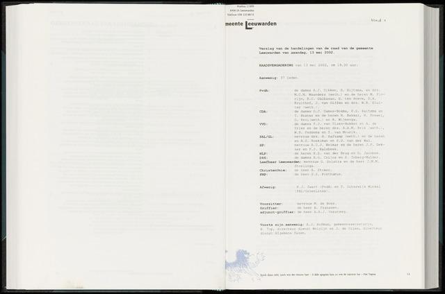 Raadsverslagen van de gemeente Leeuwarden, 1865-2007 (Notulen) 2002-05-13