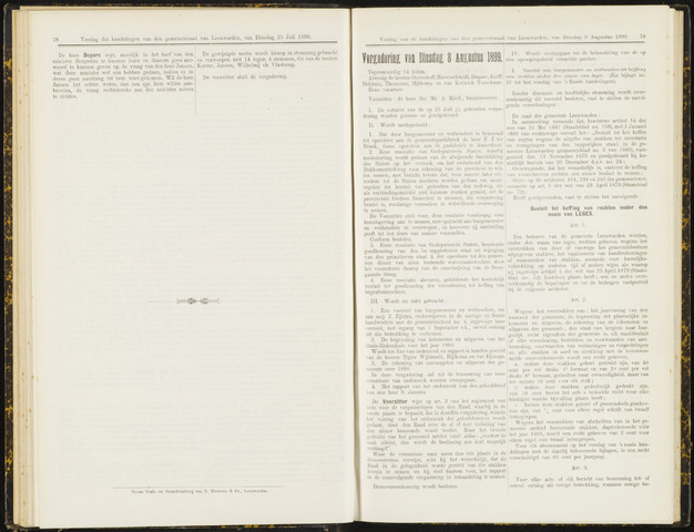 Raadsverslagen van de gemeente Leeuwarden, 1865-2007 (Notulen) 1899-08-08
