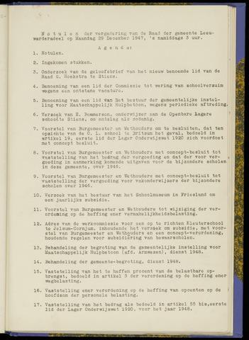 Notulen van de gemeenteraad van Leeuwarderadeel 1947-12-29