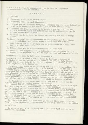 Notulen van de gemeenteraad van Leeuwarderadeel 1964-12-30