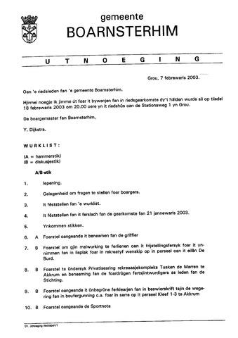 Boarnsterhim vergaderstukken gemeenteraad  2003-02-18