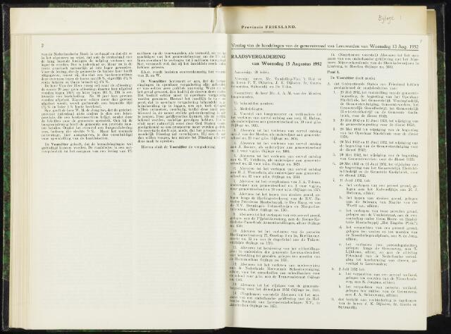 Raadsverslagen van de gemeente Leeuwarden, 1865-2007 (Notulen) 1952-08-13