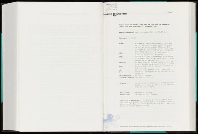 Raadsverslagen van de gemeente Leeuwarden, 1865-2007 (Notulen) 2001-11-21