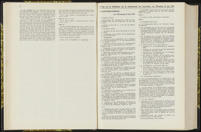 Raadsverslagen van de gemeente Leeuwarden, 1865-2007 (Notulen) 1953-06-10