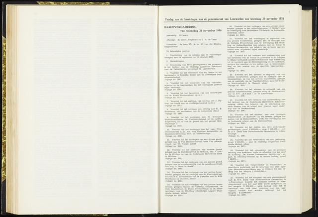 Raadsverslagen van de gemeente Leeuwarden, 1865-2007 (Notulen) 1958-11-26