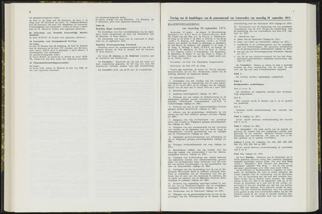 Raadsverslagen van de gemeente Leeuwarden, 1865-2007 (Notulen) 1974-09-16