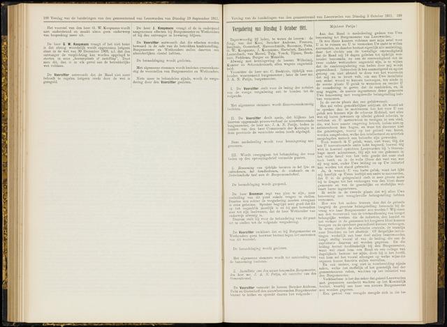 Raadsverslagen van de gemeente Leeuwarden, 1865-2007 (Notulen) 1911-10-03