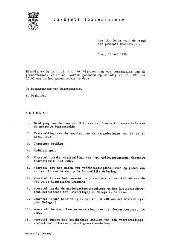 Boarnsterhim vergaderstukken gemeenteraad  1998-05-26