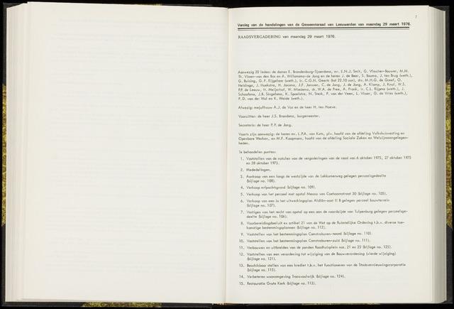 Raadsverslagen van de gemeente Leeuwarden, 1865-2007 (Notulen) 1976-03-29