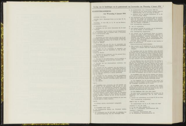 Raadsverslagen van de gemeente Leeuwarden, 1865-2007 (Notulen) 1954