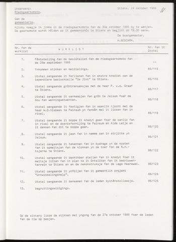 Notulen van de gemeenteraad van Leeuwarderadeel 1986-10-30