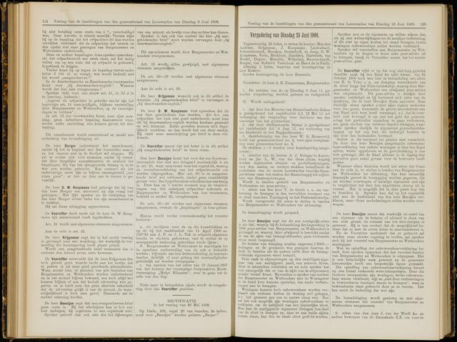 Raadsverslagen van de gemeente Leeuwarden, 1865-2007 (Notulen) 1908-06-23