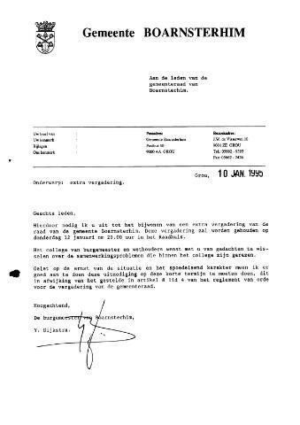 Boarnsterhim vergaderstukken gemeenteraad  1995