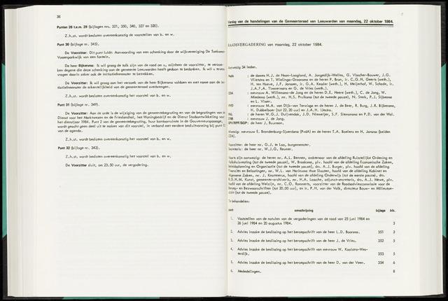 Raadsverslagen van de gemeente Leeuwarden, 1865-2007 (Notulen) 1984-10-22