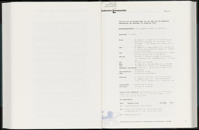 Raadsverslagen van de gemeente Leeuwarden, 1865-2007 (Notulen) 2002-08-26