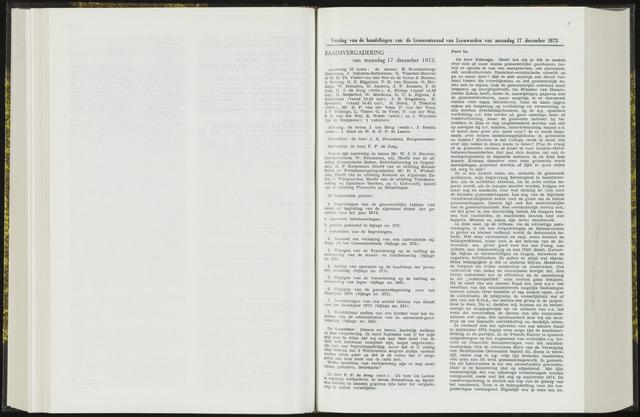 Raadsverslagen van de gemeente Leeuwarden, 1865-2007 (Notulen) 1973-12-17