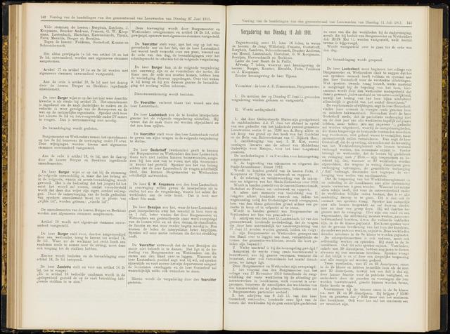 Raadsverslagen van de gemeente Leeuwarden, 1865-2007 (Notulen) 1911-07-11