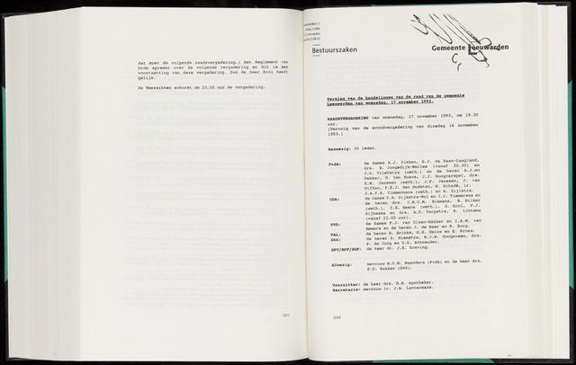 Raadsverslagen van de gemeente Leeuwarden, 1865-2007 (Notulen) 1993-11-17