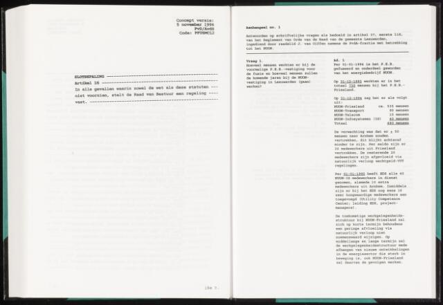 Raadsverslagen van de gemeente Leeuwarden, 1865-2007 (Schriftelijke vragen) 1996