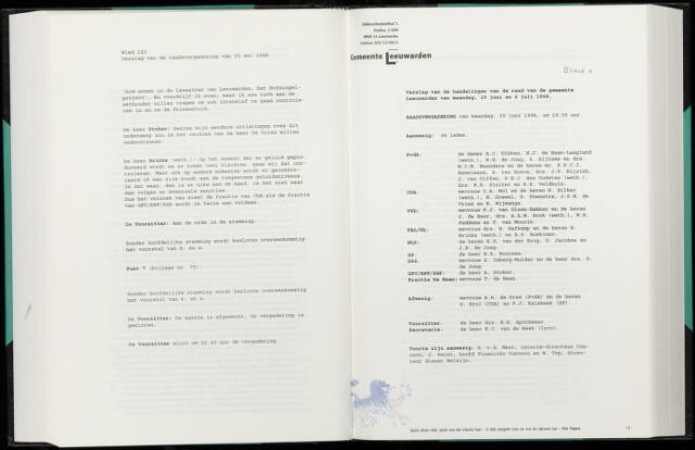 Raadsverslagen van de gemeente Leeuwarden, 1865-2007 (Notulen) 1998-06-29