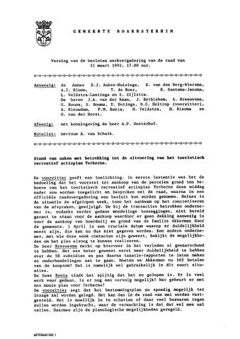 Boarnsterhim vergaderstukken gemeenteraad  1992-03-31