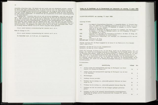 Raadsverslagen van de gemeente Leeuwarden, 1865-2007 (Notulen) 1985-03-11