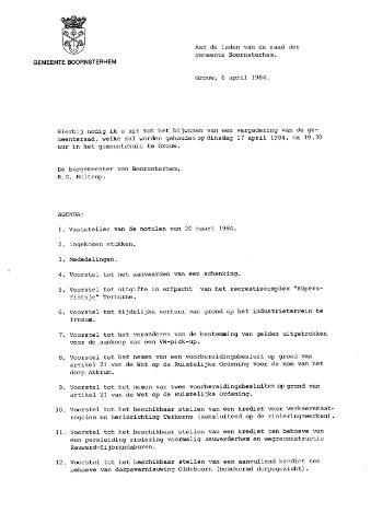 Boarnsterhim vergaderstukken gemeenteraad  1984-04-17