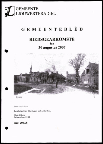 Notulen van de gemeenteraad van Leeuwarderadeel 2007-08-30