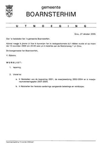 Boarnsterhim vergaderstukken gemeenteraad  2000-11-13