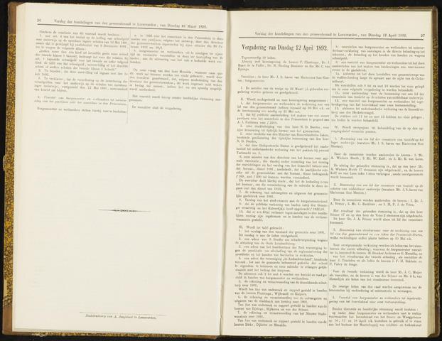 Raadsverslagen van de gemeente Leeuwarden, 1865-2007 (Notulen) 1892-04-12
