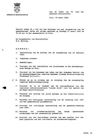 Boarnsterhim vergaderstukken gemeenteraad  1989-03-21